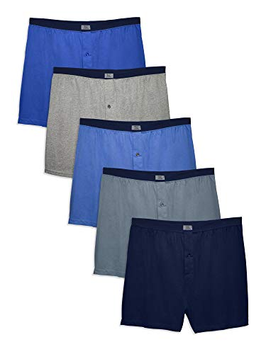 Fruit of the Loom Men's Soft Stretch-Knit Boxer Multipack, Covered Waistband - Assorted (4 Pack), 2X-Large