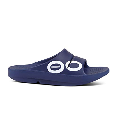 OOFOS - Unisex OOahh - Post Exercise Active Sport Recovery Slide Sandal - Navy Sport - M14/W16
