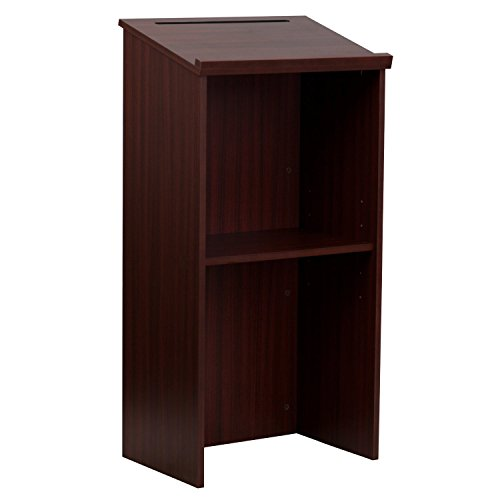 AdirOffice Mahogany Stand up, Floor-Standing Podium, Lectern with Adjustable Shelf and Pen/Pencil Tray