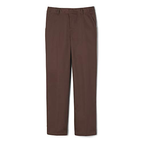 French Toast Big Boys' Flat Front Double Knee Pant with Adjacent Waist, Brown, 10