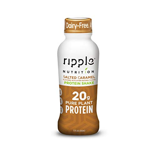 Ripple Vegan Protein Shake, Caramel | 20g Nutritious Plant Based Pea Protein in Ready to Drink Bottles | Non-GMO, Non-Dairy, Soy Free, Gluten Free, Lactose Free | Shelf Stable |12 Fl Oz (12 Pack)