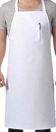 Sunrise Kitchen Supply White Apron with Pocket on Top (Top Pocket)