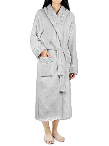 PAVILIA Soft Plush Women Fleece Robe, Light Grey Cozy Bathrobe, Luxurious Female Long Spa Robe, Satin Waffle Trim S/M