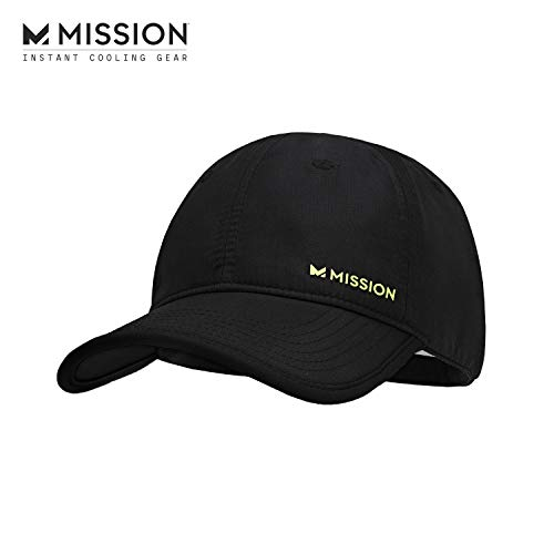 MISSION Cooling Performance Hat- Men's & Women's Cap, UPF 50 Sun Protection, Hook & Loop Close, Evaporative Cool Technology, Cools Instantly When Wet, Great for Golf, Running, Baseball- Black