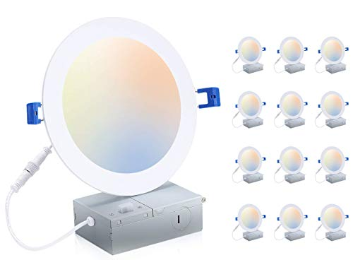 Cloudy Bay 6 inch 3000K/ 4000K/ 5000K Three Color Temperature Selectable, Dimmable 15W CRI 90+ LED Recessed Light, IC Rated,Air Tight, Ultra Thin Recessed Downlight with Junction Box, White, 12 Pack