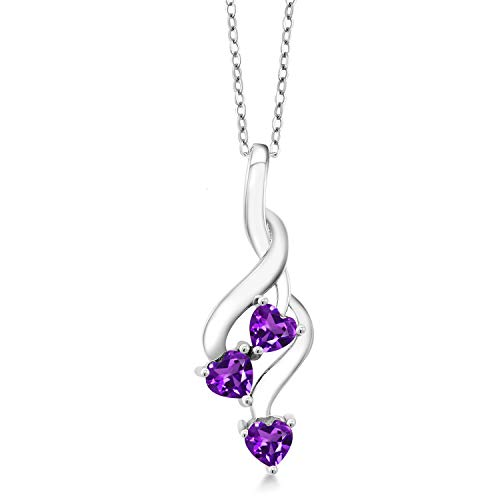 Gem Stone King 925 Sterling Silver Purple Amethyst Pendant Necklace For Women (0.68 Ct Heart Shape with 18 inch Silver Chain)