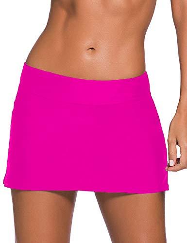 Women Sexy Pure Color Waistband Skirt Bikini Bottom Rose Red Large