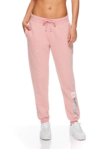 K-Swiss Women's High Waisted Joggers - High Rise Waist Activewear Sweatpants - Element Pressed Rose Pink, Small