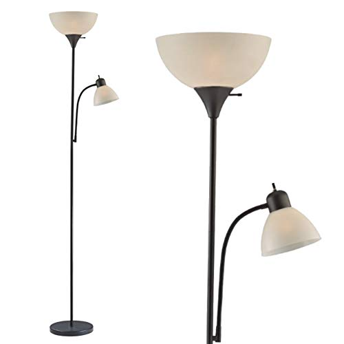 Adjustable Floor Lamp with Reading Light by Light Accents - Susan Modern Standing Lamp for Living Room/Office Lamp 72' Tall - 150-watt with Side Reading Light Corner Lamp (Black)