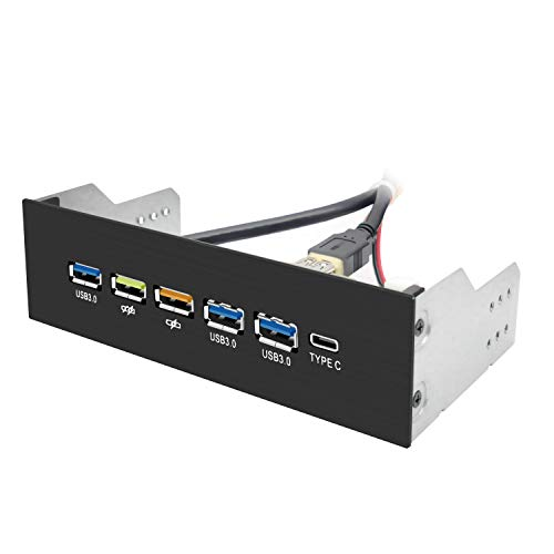 EZDIY-FAB USB 3.0 HUB 5.25 Inch Internal Front Metal Brushed Panel and 1-Type-C Port/ 3-USB 3.0 Ports with QC3.0 18W Fast Charging Port