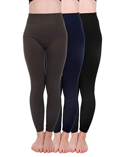 Homma 3 Pack Extra-Thick French Terry Thermal Leggings (Large/X-Large, Black,Navy,D.Grey)