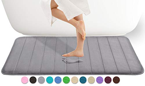 Yimobra Memory Foam Bath Mat Large Size 44.1 x 24 Inches, Comfortable, Soft, Super Water Absorption, Machine Wash, Non-Slip, Thick, Easier to Dry for Bathroom Floor Rug, Gray