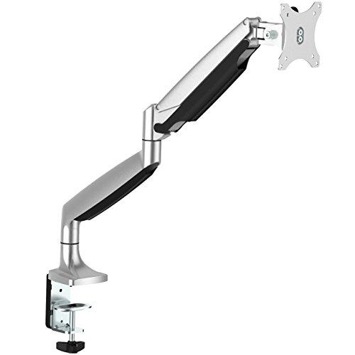 StarTech.com Desk Mount Monitor Arm - Full Motion Articulating - Monitors 12 to 34 Adjustable VESA Single Monitor Arm - Desk & Grommet Clamp -Silver (ARMPIVOTHD)