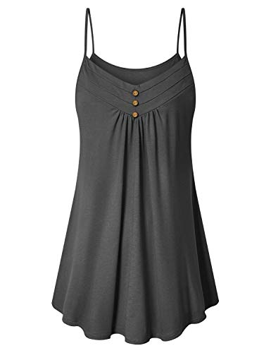 Viracy Sleeveless Tunic Tops, Womens Flowy Tank for Hot Summer Hawaiian Strappy Camisole Aline Peasant Blouse Lightweight Breathable Cool Cotton Cami Simple Comfy Sleepwear Crop Grey L