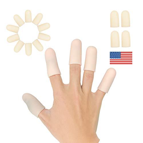 Gel Finger Cots, Finger Protector Support(14 PCS) New Material Finger Sleeves Great for Trigger Finger, Hand Eczema, Finger Cracking, Finger Arthritis and More. (Beige, Short)