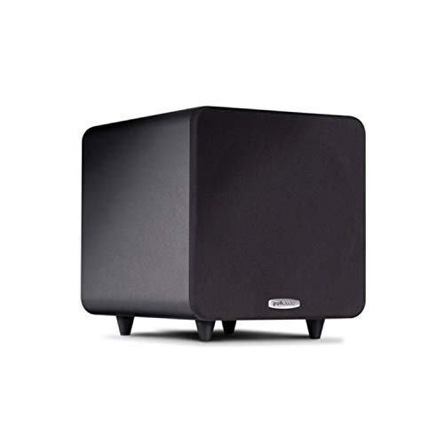 Polk Audio PSW111 8' Powered Subwoofer - Power Port Technology | Up to 300 Watt Amp | Big Bass in Compact Size | Easy Setup with Home Theater Systems