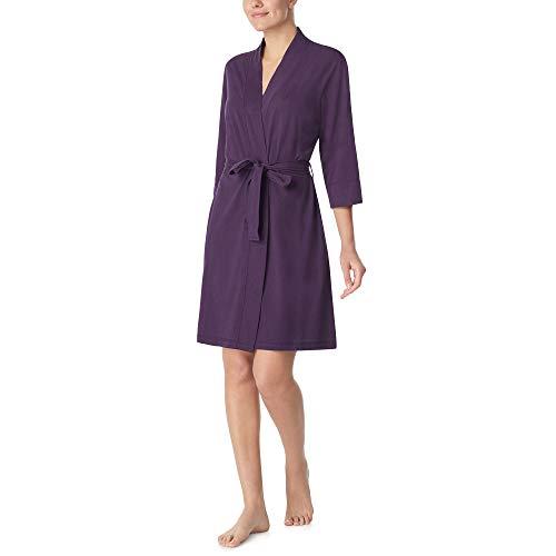 Nautica Women's 100% Cotton Jersey Robe, Eggplant, XL