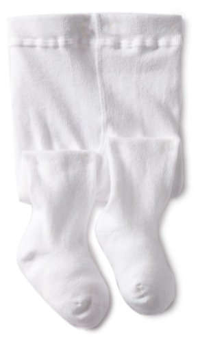 Jefferies Socks Baby-girls Infant Seamless Organic Cotton Tights, White, 6-18 Months