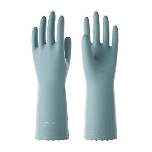 LANON Wahoo PVC Household Cleaning Gloves, Reusable Unlined Dishwashing Gloves, Non-Slip, Medium
