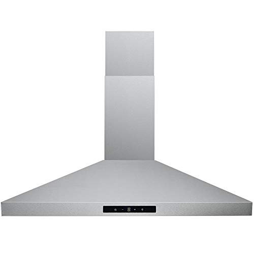 DKB Range Hood 30' Inch Wall Mount Stainless Steel Kitchen Exhaust Vent, With 400 CFM, 3 Speed Fan & Touch Sensitive Control Panel LED lights