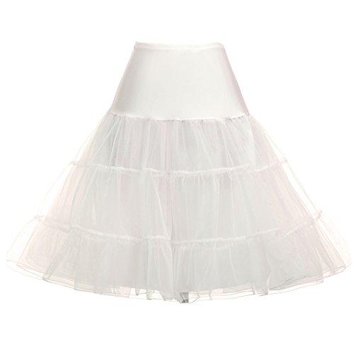 GRACE KARIN Women's Full Netting Petticoat Lingerie Ruffled Short Cancan Skirt Colored Petticoat for Wedding Dress (Ivory,1X)