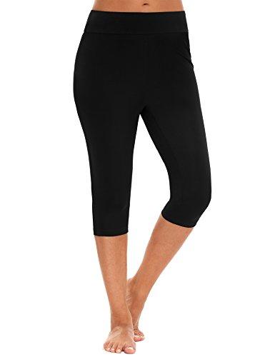 Swim Leggings Capri Pants Tankini Swimsuit Surfing Swimwear wetsuit, Black, Large