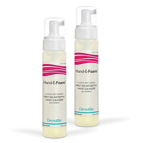 Hand-E-Foam Alcohol Free Foaming Hand Sanitizer Pump, 8 Ounce, 2 Pack - Vitamin E Enriched Moisturizing Formula - No Rinse, Non Drying, Non Sticky Foam Hand Soap - First Aid Antiseptic Cleanser