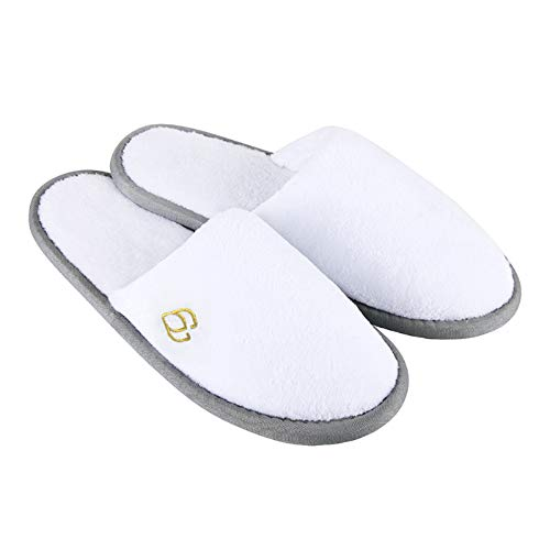 Spa Slippers, Closed Toe(Large Size,12 Pairs) Disposable Indoor Hotel Slippers, Fluffy Coral Fleece, Padded Sole for Comfort- for Guests, Hotel, Travel, Fits Up to US Men Size 12 & Women Size 13