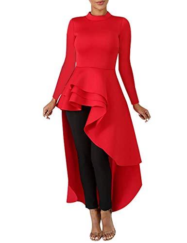 Lrady Women Ruffle High Low Asymmetrical Long Sleeve Peplum Tops Blouse Shirt Dress, Red, XL