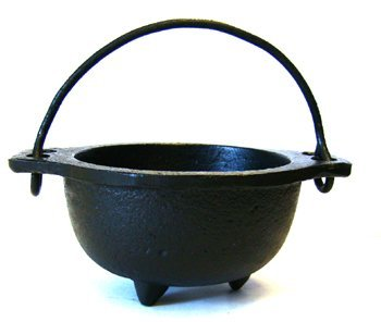 Cast Iron Cauldron w/handle, ideal for smudging, incense burning, ritual purpose, decoration, candle holder, etc. (4' Diameter Handle to Handle, 2.5' Inside Diameter)