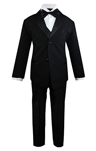 Luca Gabriel Toddler Boys 5 Piece Classic Fit Formal Suit Bowtie Set,Black,7