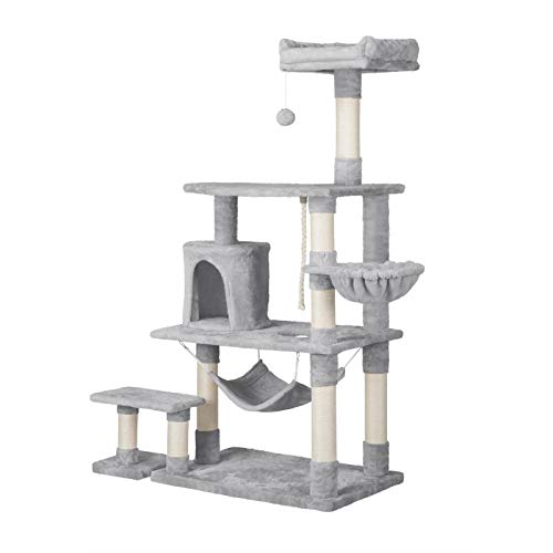 YAHEETECH 61.5in Multi-Level Cat Tree Tower Condo with Scratching Posts, Removable Platform & Hammock, Cat Activity Center Play Furniture for Kittens, Cats, and Pets