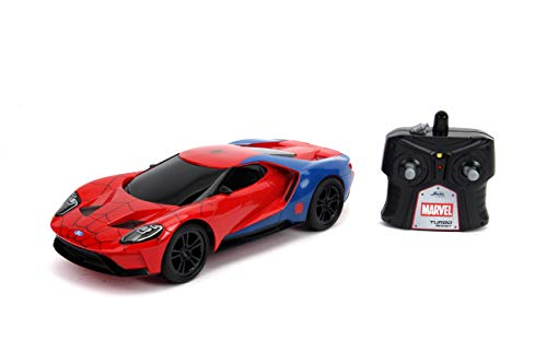JADA toys Marvel Spider-Man 2017 Ford GT R/C, 1: 16 Scale with USB Charging, 2.4Ghz & Turbo Boost, Red and Blue
