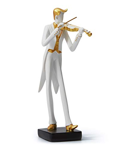 HAUCOZE Figurine Statue Musician Music Decor Oboe Rock Band Sculpture Piano Gifts for Home Souvenirs Giftbox Resin 25cmH