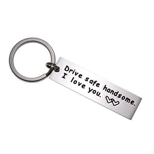 Drive Safe Keychain Handsome I Love You Trucker Husband Gift for Husband Dad Gift Valentines Day Stocking Stuffer