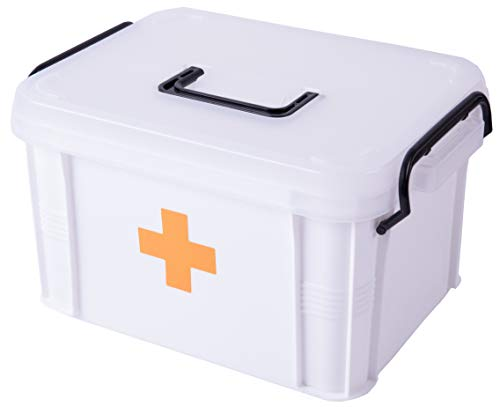 Basicwise QI003347 First Aid Medical Kit Container, Large, White