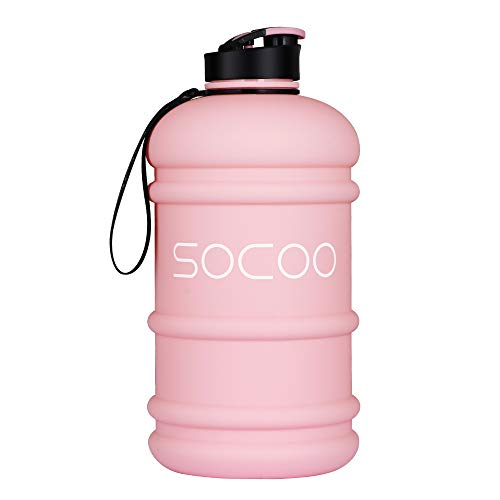 SOCOO Half Gallon Water Bottle Leakproof BPA FREE workout water bottle 2.2 Litre large Sport Jug with handle and Carrying Loop for fitness Gym 75 ounce portable water jug (2.2L Dishwasher Pink)