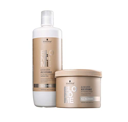 Schwarzkopf Professional BlondMe All Blondes Keratin Restore Bonding Shampoo 1 Liter, With 16.9oz Mask, DUO!