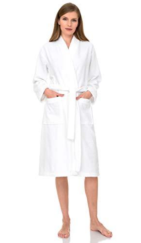 TowelSelections Terry Kimono Bathrobe - Terry Cloth Bath Robe for Women and Men, 100% Turkish Cotton, Made in Turkey (White, S/M)