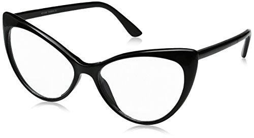 zeroUV - Super Cat Eye Glasses Vintage Inspired Mod Fashion Clear Lens Eyewear (Black)