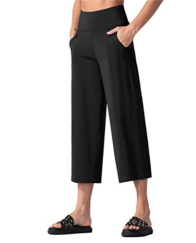 THE GYM PEOPLE Bootleg Yoga Capris Pants for Women Tummy Control High Waist Workout Flare Crop Pants with Pockets (X-Large, Black)