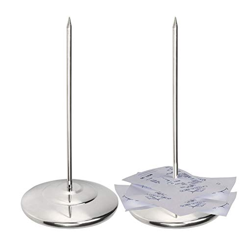 Restaurant Receipt Holder, Stainless Steel Check Spindle with 3.2 Inch Round Base, Desk Straight Rod 6.3 Inch Long for Bill Fork Stick and Paper Memo Holder Spike, 2 Pcs