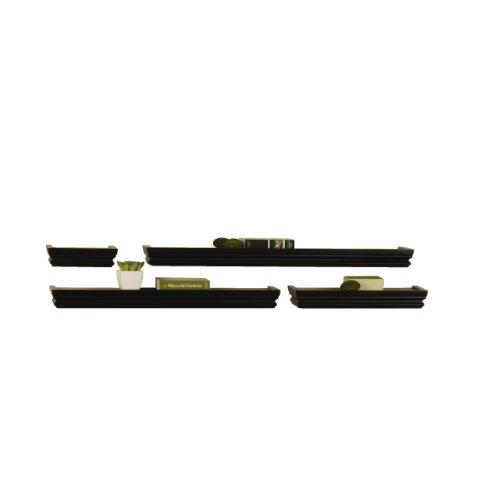 MELANNCO Floating Wall Mount Crown Molding Ledge Shelves, Set of 4, Black