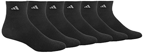 adidas Men's Athletic Cushioned Quarter Sock (6-Pair), Black/Aluminum 2, Large, (Shoe Size 6-12)