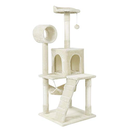 Topeakmart 51in Height Cat Tree Condo Multi-Level Cat Towers House Furniture W/Hammock & Scratching Post