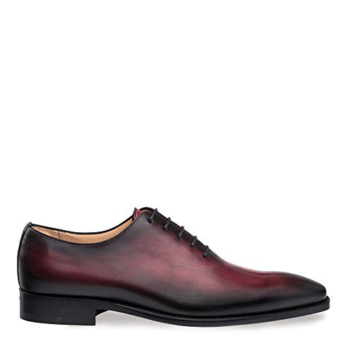 Mezlan Pamplona - Mens Luxury Contemporary 5 Eyelet Plain Toe Balmoral - Hand-Stained Italian Calfskin, with Smooth Hand-Finishes - Handcrafted in Spain - Medium Width (10, Burgundy)