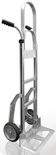 Heavy Duty Aluminum Hand Truck with Stair Climber   Ergonomic Double-Grip Handles & 8-Inch Hi Tech Rubber Wheels, 500lb Capacity   52-Inch Tall Hand Cart with 9' x 17.5 Inch Nose Plate…