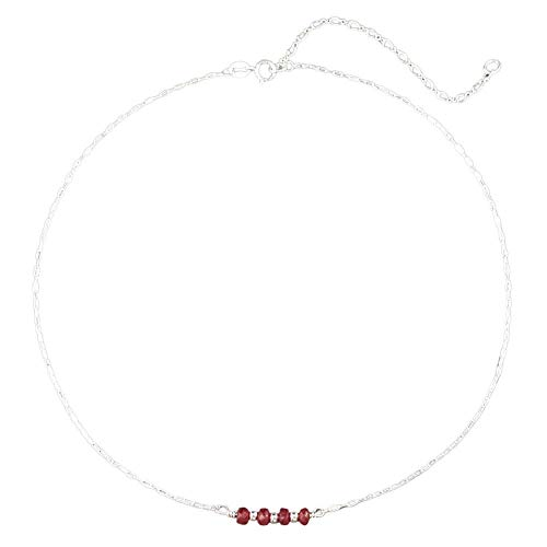 Genuine Ruby Adjustable Dainty Choker Necklace - 925 Sterling Silver, 14' - 17'