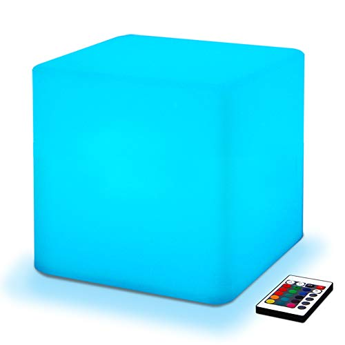 Mr.Go 10-inch 25cm Rechargeable Color Changing LED Light Up Cube, 16 RGB Colors, 5 Level Dimming, Fun Romantic Mood Lamp Night Light Super Sturdy & Lightweight Waterproof for Indoor Outdoor Use