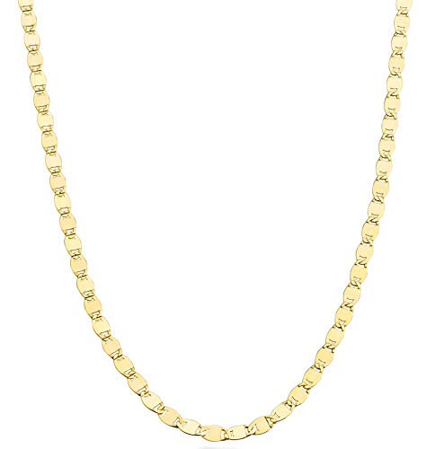 """Miabella 18K Gold Over 925 Sterling Silver Italian Sparkle Mirror Link Chain Necklace for Women Teen Girls, 13'+2', 16', 18', 20', 22', 24"""", 26' & 30' Inch (18 inch)"""